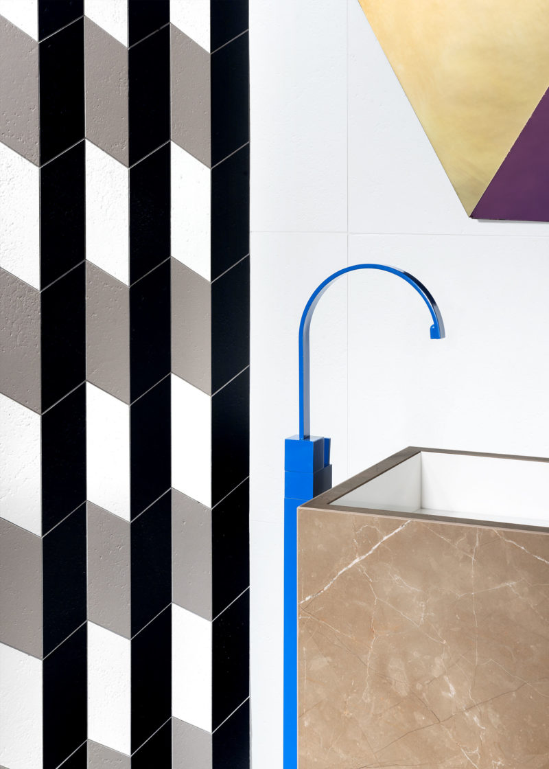 Detail of Marble washbasin with blue tap of Acqua Maximum collection of Graniti Fiandre Photographer Maria Teresa Furnari