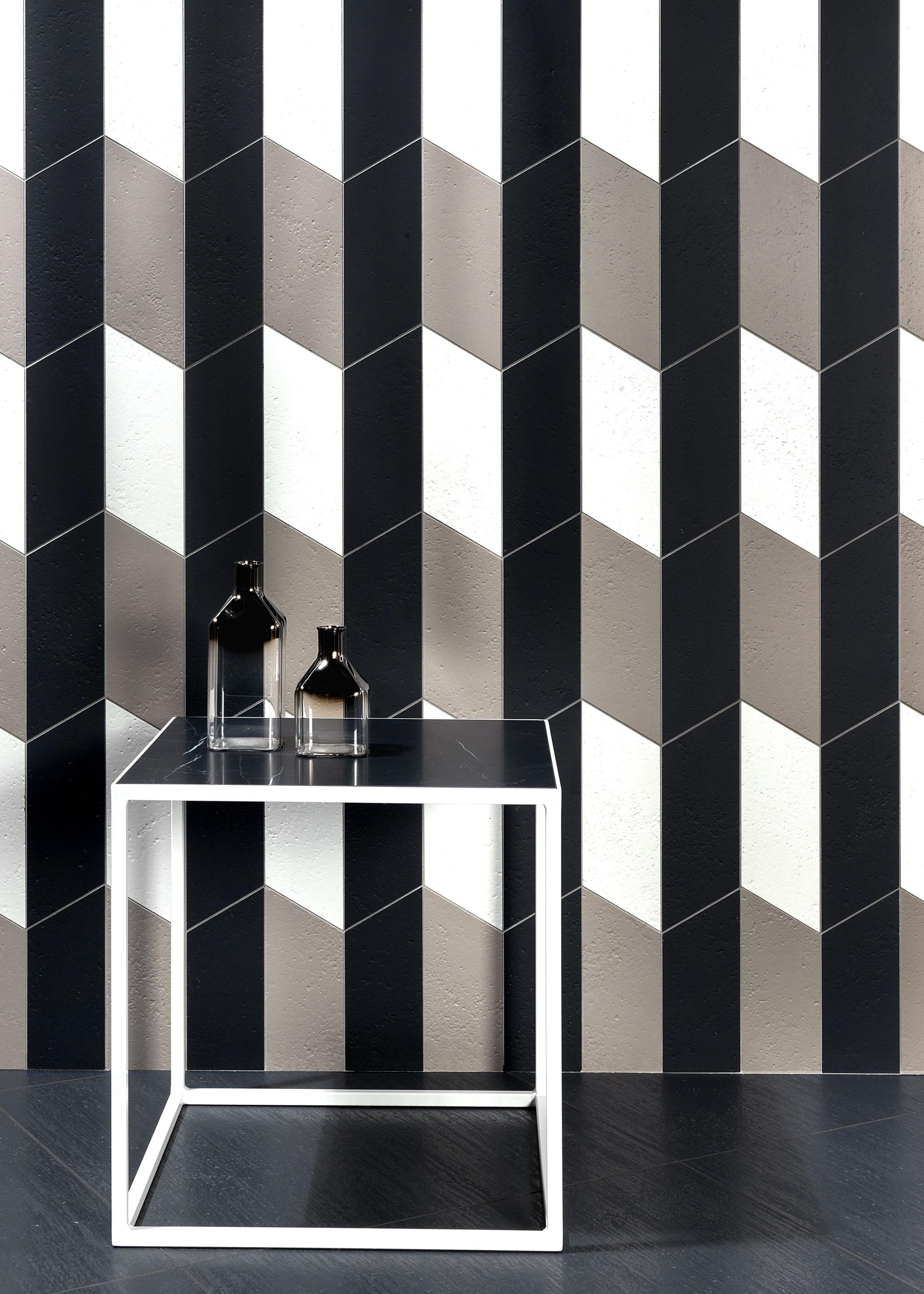 Coffe table and black and white tiles of Acqua Maximum collection of Graniti Fiandre Photographer Maria Teresa Furnari