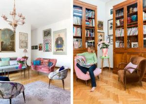 Elena Corner on a pink armchair in her living room Photographer Maria Teresa Furnari