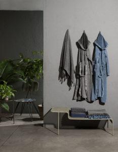 A grey and a blu bathrobes of Diesel Home Linen Collection Photographer Maria Teresa Furnari