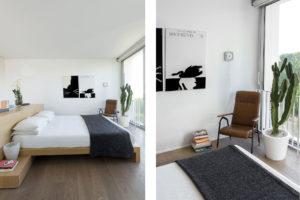 Bedroom in the concrete and minimalist villa of Rosalba Piccinni Photographer Maria Teresa Furnari