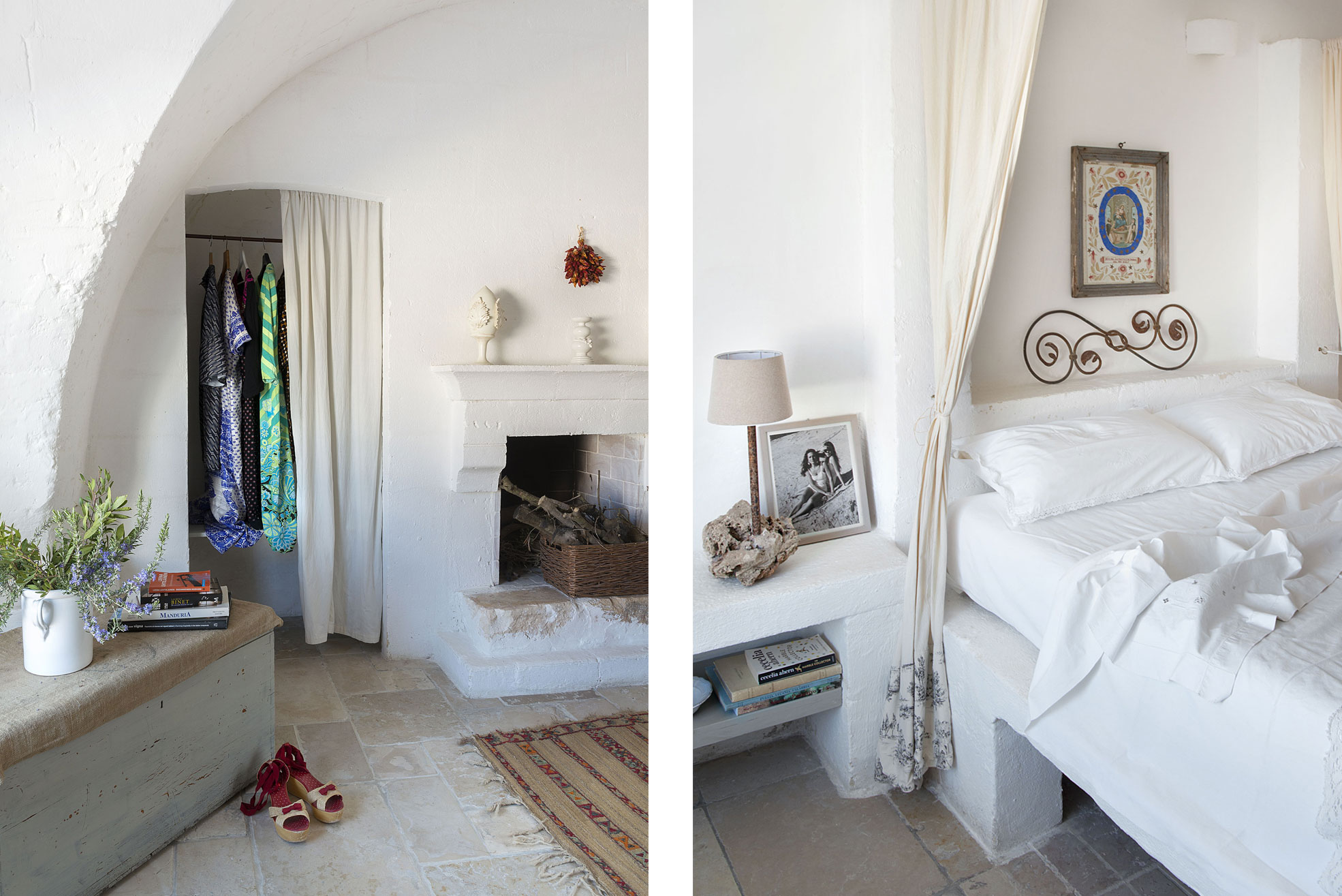 Bedroom and wardrobe detail at Masseria Potenti in Puglia Photographer Maria Teresa Furnari
