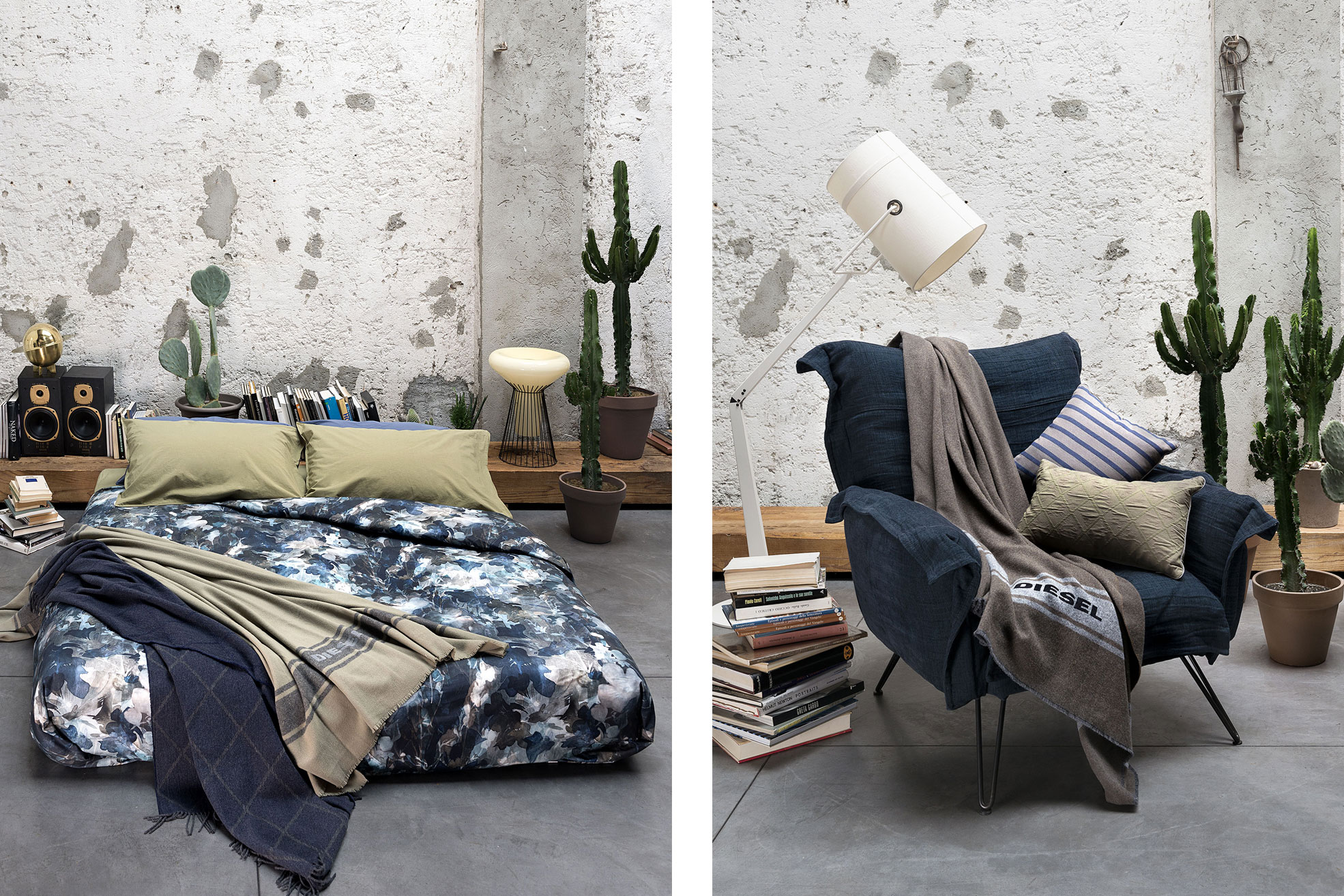 A blue armchair with grey blanket of Diesel Home Linen Collection Photographer Maria Teresa Furnari