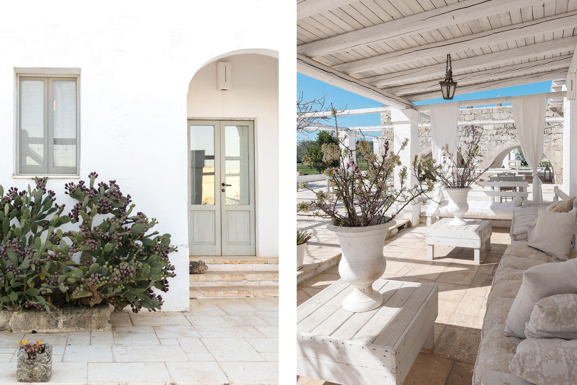 Detail of exterior longue area in Masseria Potenti in Puglia Photographer Maria Teresa Furnari