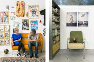 Portrait of Attilio and Paolo on a orange sofa in their home Cinema Flora Photographer Maria Teresa Furnari