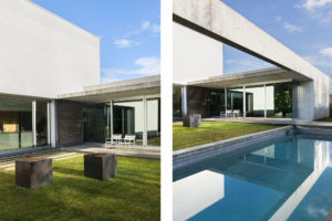 Details of swimming pool and garden in the concrete and minimalist villa of Rosalba Piccinni Photographer Maria Teresa Furnari