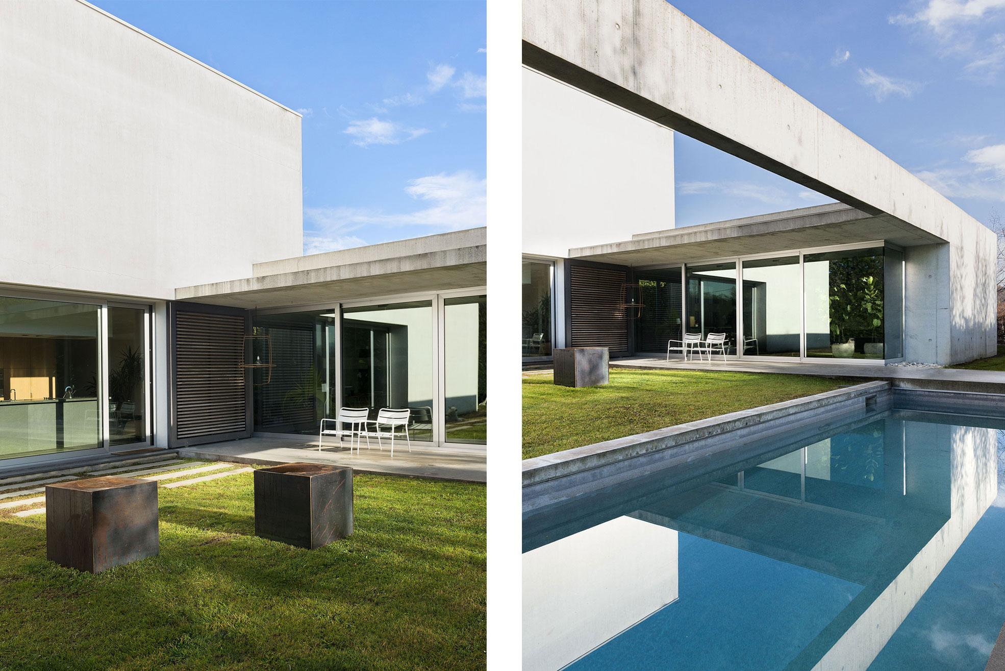 Details of swimming pool and garden in the concrete and minimalist villa of Rosalba Piccinni Photographer Maria Teresa Furnari