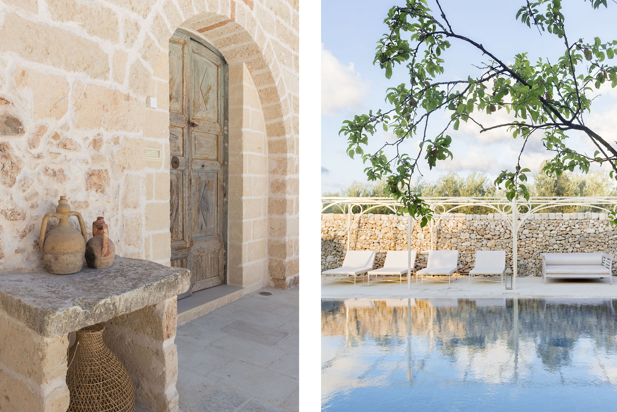 Detail of swimming pool at the boutique hotel Masseria Trapanà in Puglia Photographer Maria Teresa Furnari