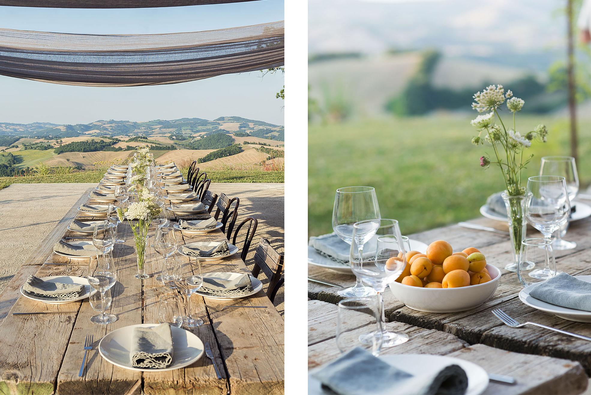 Set table for dinner outside at Malatetsa Maison de Charme in the marche hills Photographer Maria Teresa Furnari