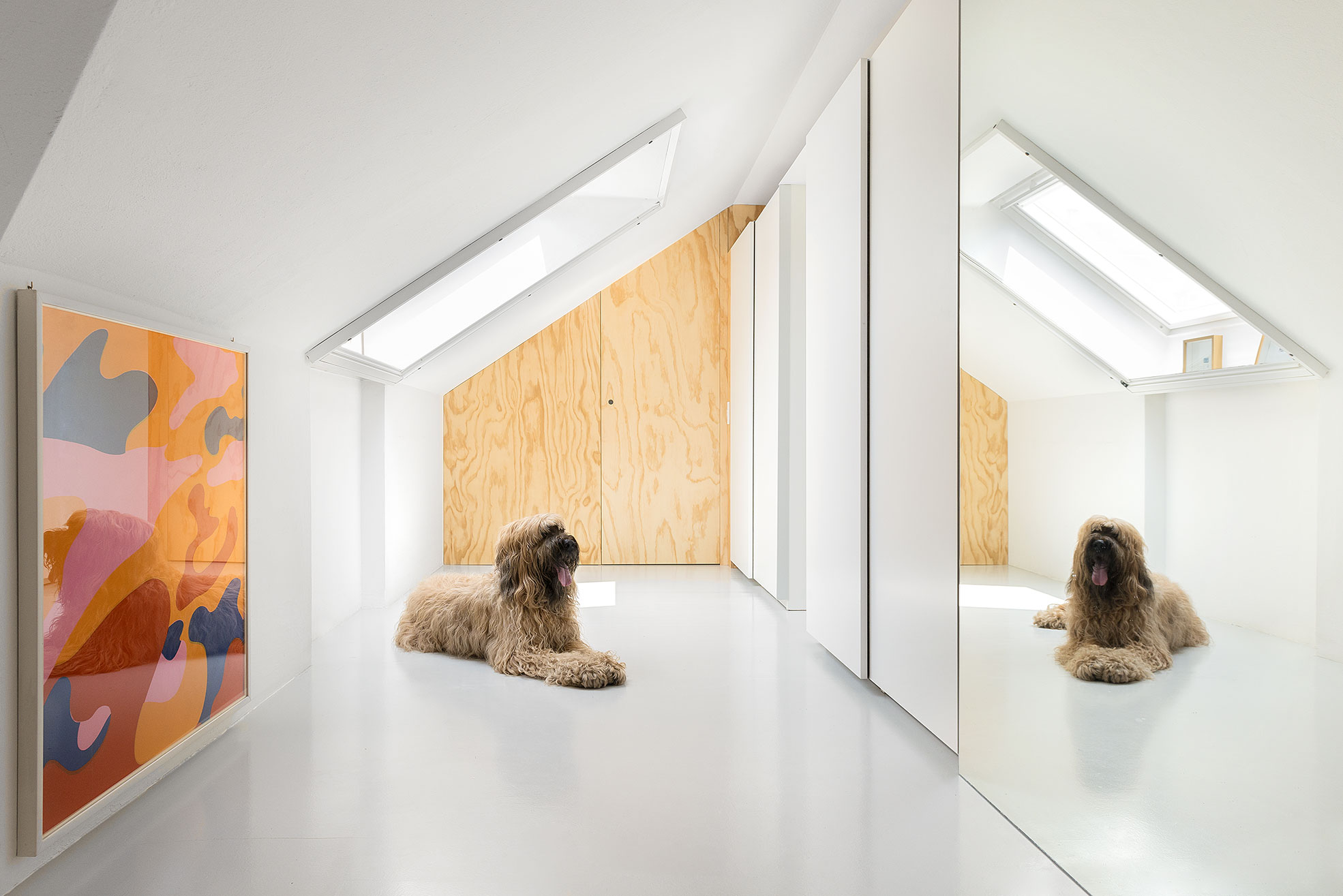 A dog and a painting in front a mirror