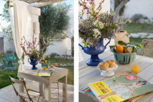 details of a table with flower a vintage magazine and oranges at Masseria Potenti Photographer Maria Teresa Furnari