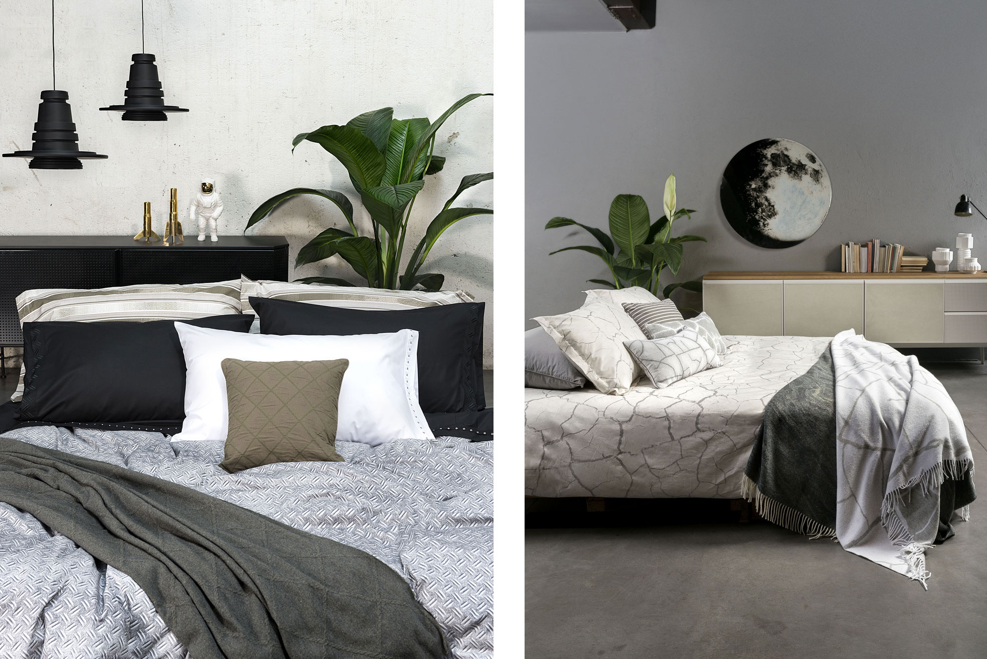 Bedroom with white sheets and grey blanket of Diesel Home Linen Collection Photographer Maria Teresa Furnari