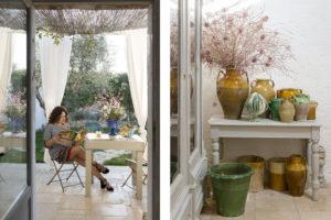 Maria Grazia reading in the garden of Masseria Potenti and detail of demijohn at Masseria Potenti