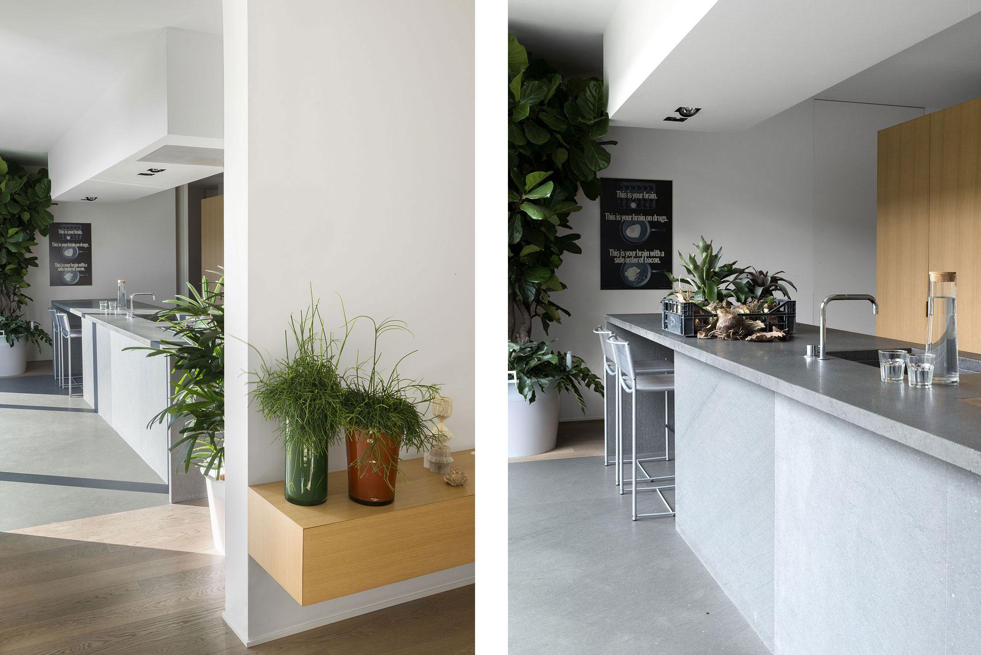Kitchen in the concrete and minimalist villa of Rosalba Piccinni Photographer Maria Teresa Furnari