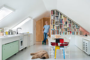 Alessio Riva Architect and his dog in his kitchen Photographer Maria Teresa Furnari