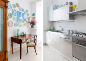 Steel Kitchen with colored vases and collection of dishes Photographer Maria Teresa Furnari