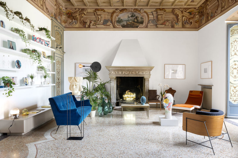 Living room of Casa Canvas, a gallery for young designers created by Thayse Viègas Photographer Maria Teresa Furnari