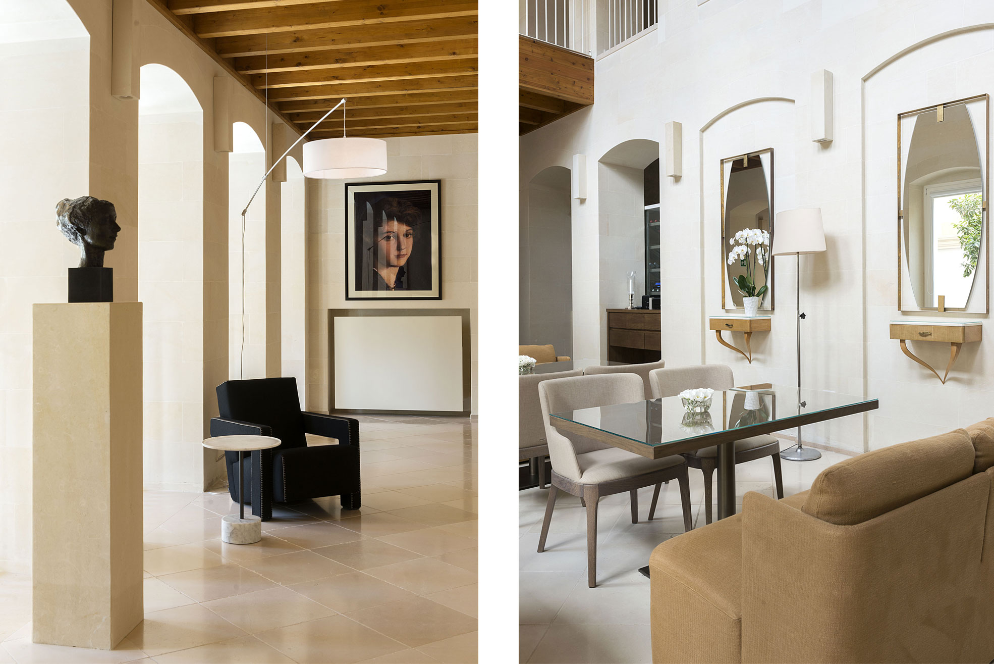 Armchair and painting in the aisle and lounge area of La fiermontina resort in Lecce Photographer Maria Teresa Furnari