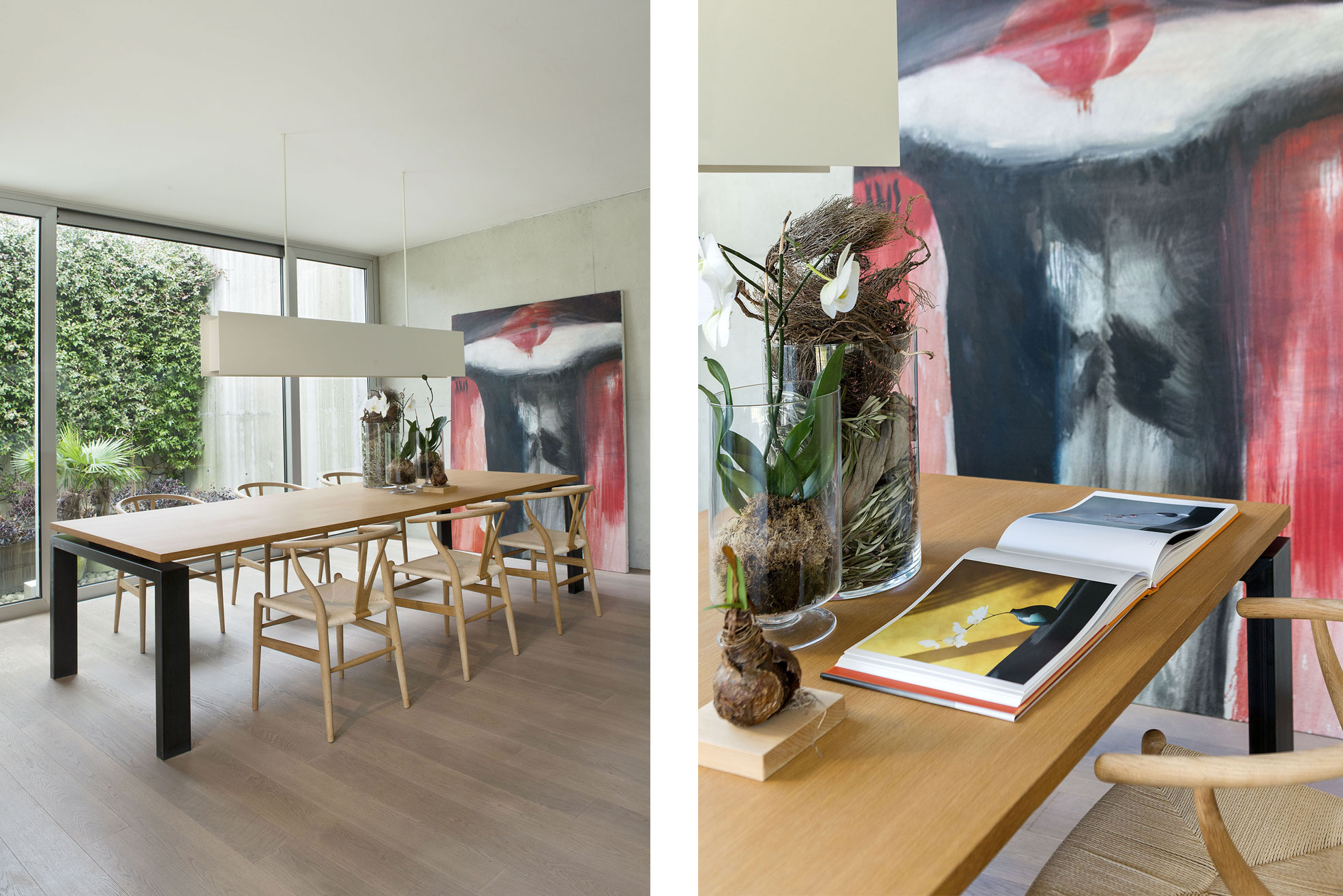 Details Wooden table in the living room of the concrete and minimalist villa of Rosalba Piccinni Photographer Maria Teresa Furnari