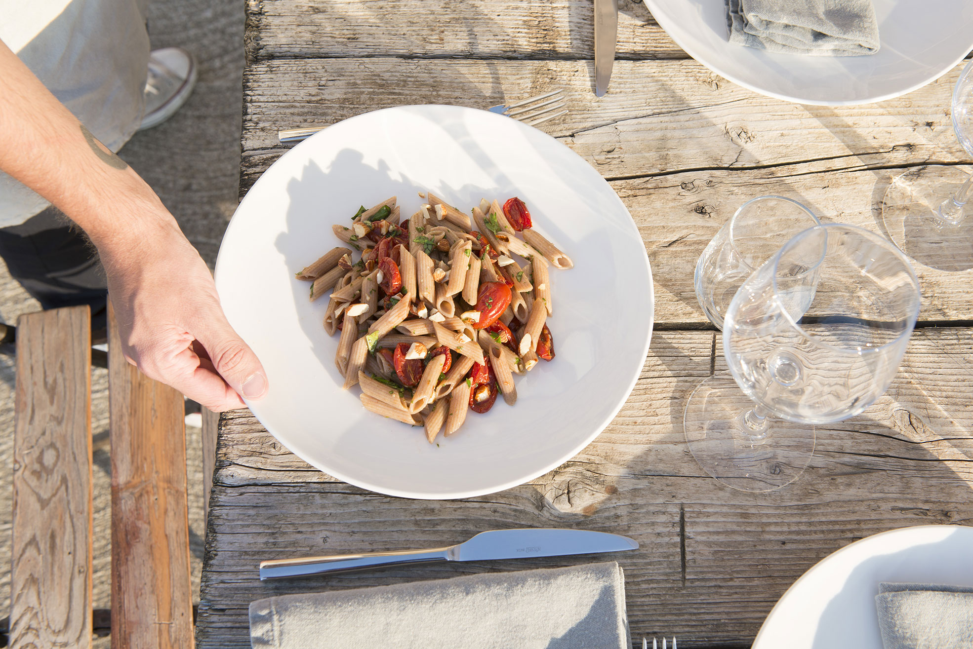 Pasta dish at Malatetsa Maison de Charme in the marche hills Photographer Maria Teresa Furnari