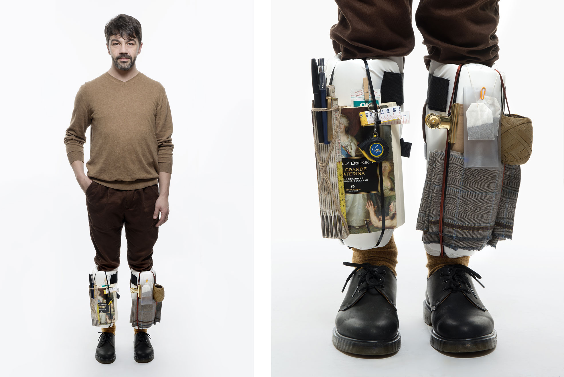 n with objects on his legs, the picture is part of Wearable Homes a design project by Denise Bonapace