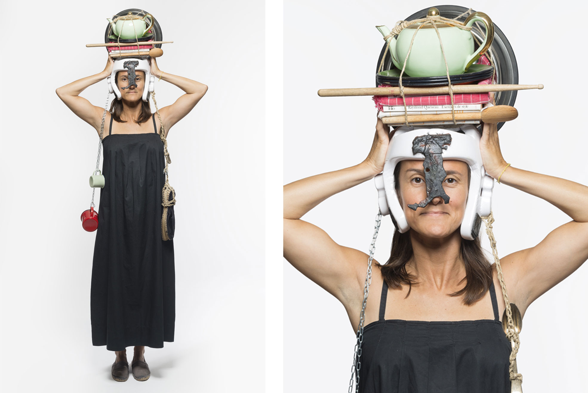 Photo of a woman with objects on her heads the picture is part of Wearable Homes a design project by Denise Bonapace