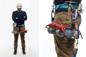 Photo of a man with objects on his waist, the picture is part of Wearable Homes a design project by Denise Bonapace