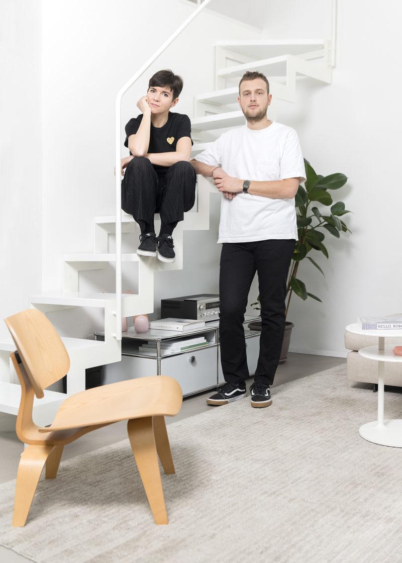 Portrait on stairs of Riccardo Crenna and Simona Flacco, founders of Simple Flair, in their Simple Flair Apartment Photographer Maria Teresa Furnari
