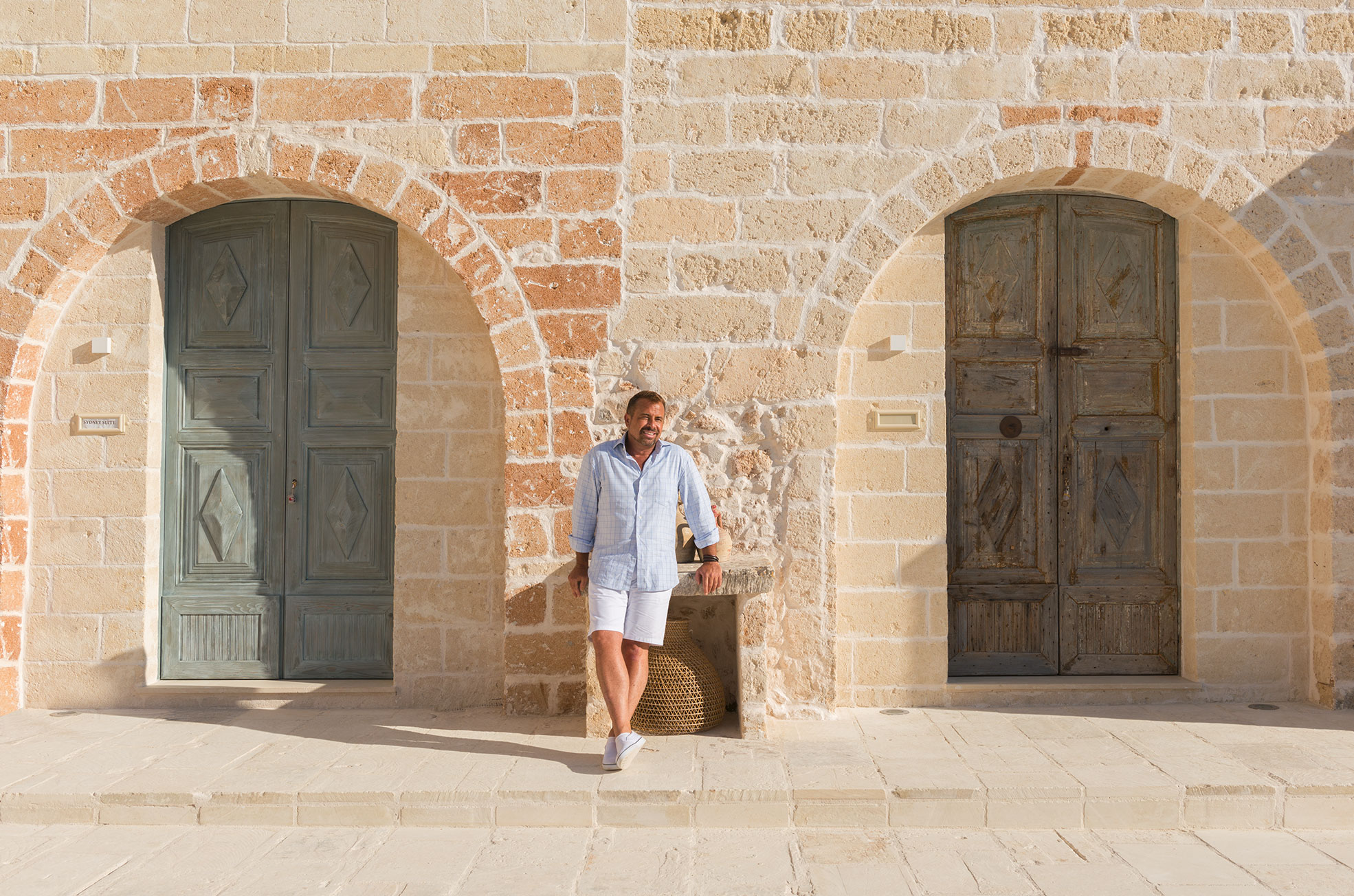 Portrait of the owner of the boutique hotel Masseria Trapanà in Puglia Photographer Maria Teresa Furnari