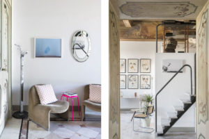 Stairs and artworks in Casa Canvas, a gallery for young designers created