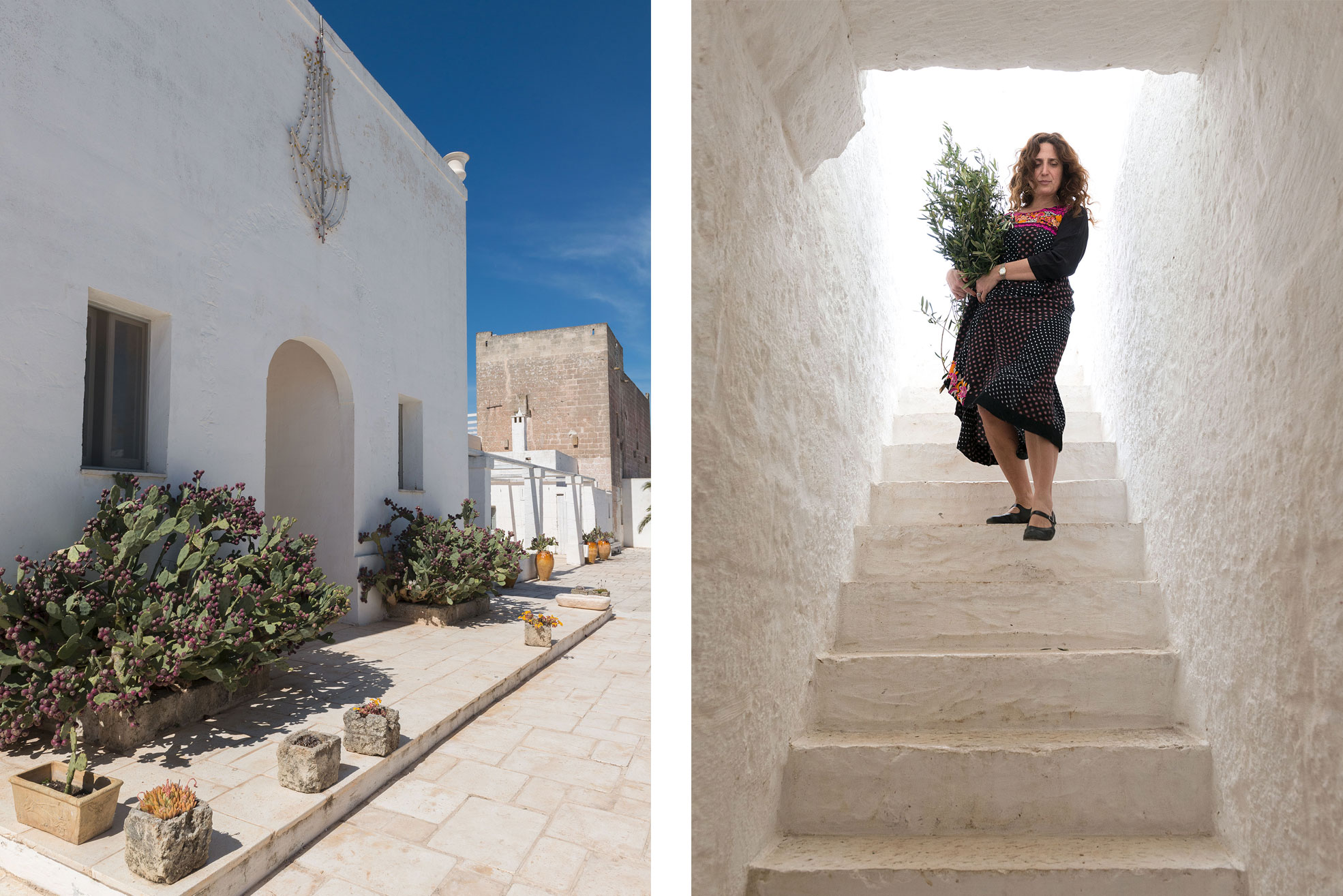 Maria Grazia going downstairs in her Masseria Potenti in Puglia Photographer Maria Teresa Furnari