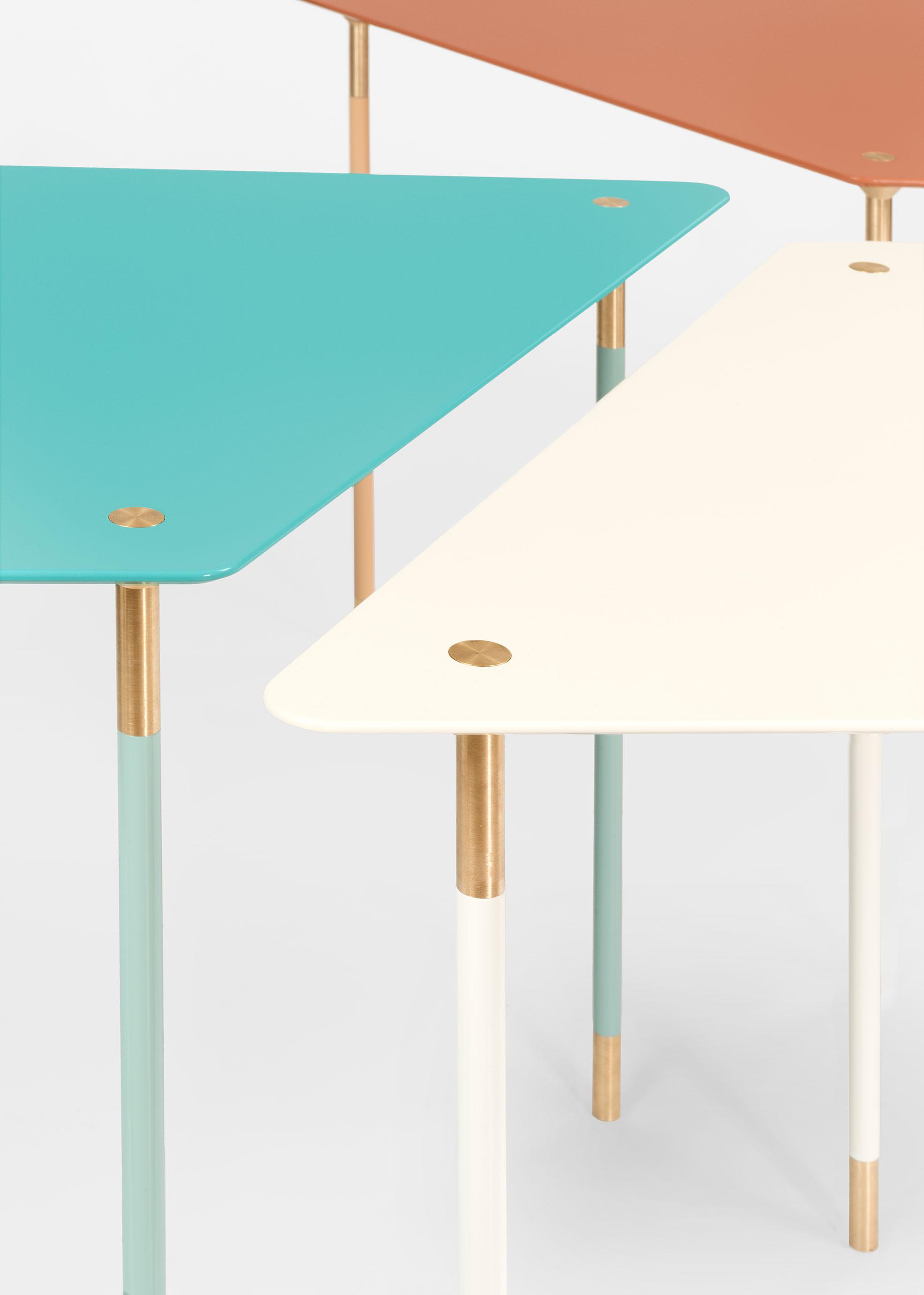 Still life of coffee tables of Aquiloni collection of the designer Derek Castiglioni Photographer Maria Teresa Furnari