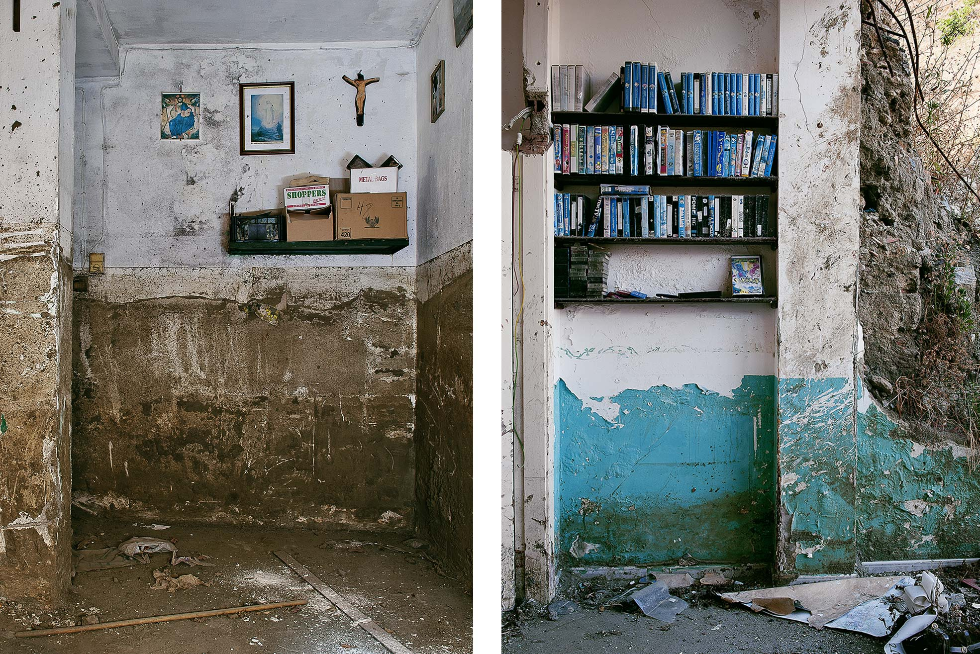 video tapes on shelfs in ruined house one of the trail of Giampilieri after the flood Photographer Maria Teresa Furnari