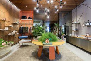 Santoni Milan Boutique in Monte Napoleone staged with Aquiloni Furniture by Derek Castiglioni Photographer Maria Teresa Furnari