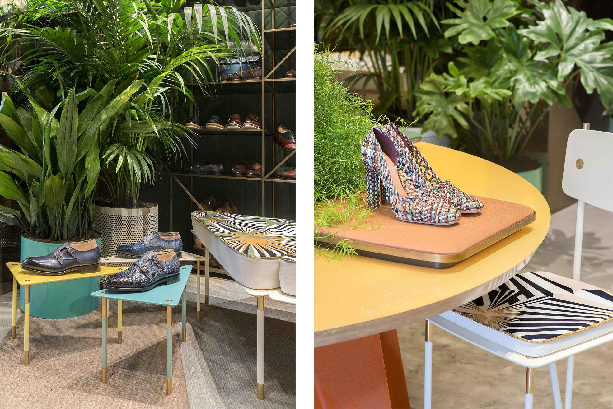 Chair and coffee table of Aquiloni Furniture by Derek Castiglioni in the Santoni Milan Boutique Photographer Maria Teresa Furnari