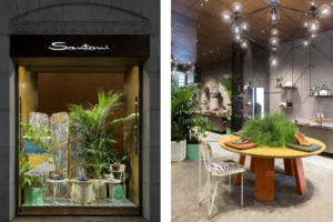Shop window of Santoni Milan Boutique with Aquiloni Collection by Derek Castiglioni Photographer Maria Teresa Furnari