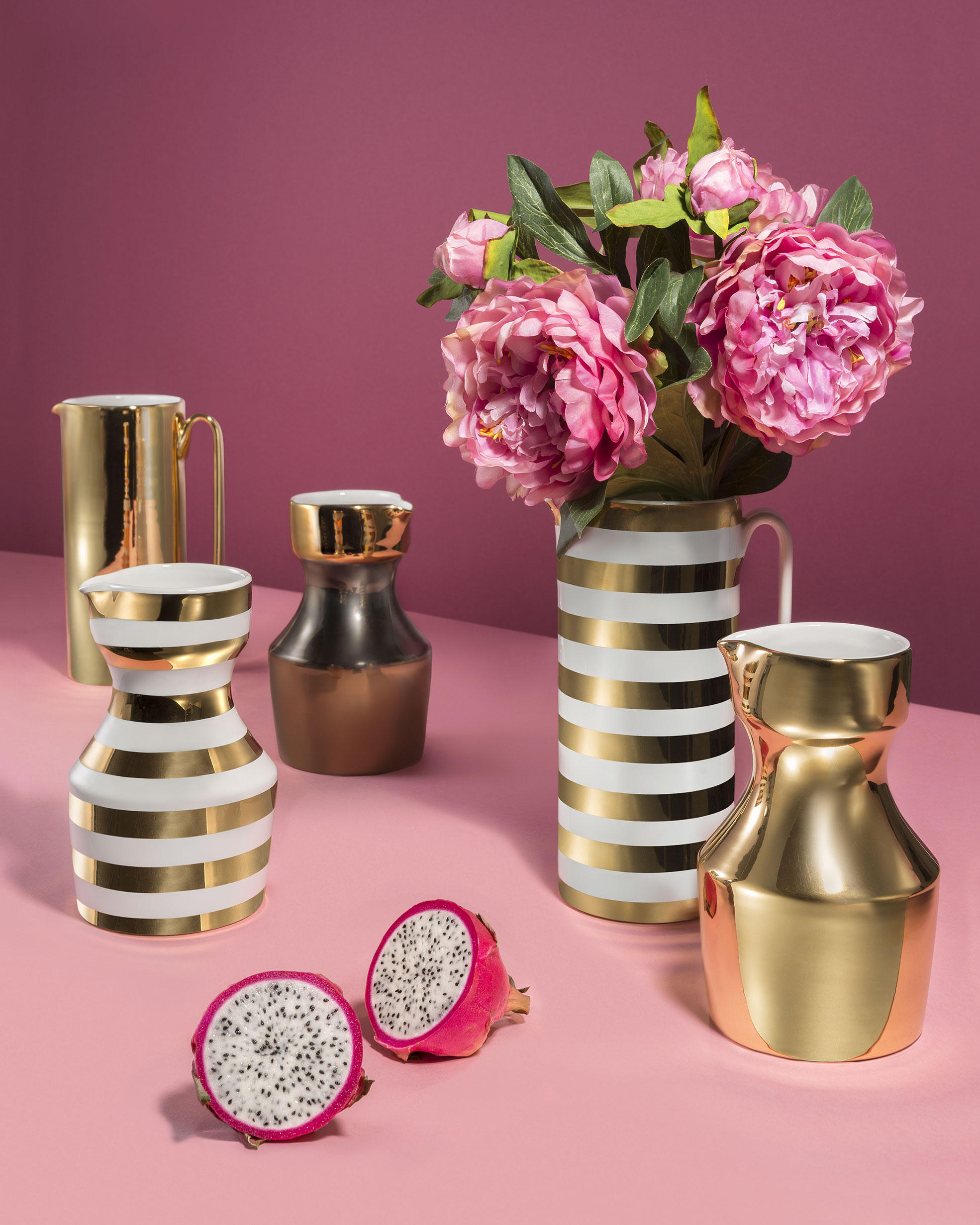 Still Life of golden carafes for the E-commerce of Funky Table Photographer Maria Teresa Furnari