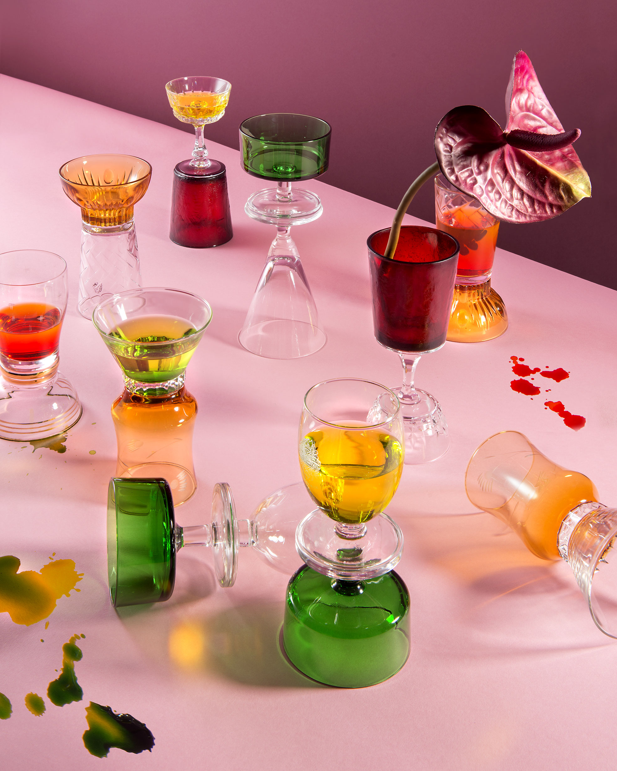 Still Life of Side Up Glasses for the E-commerce of Funky Table Photographer Maria Teresa Furnari