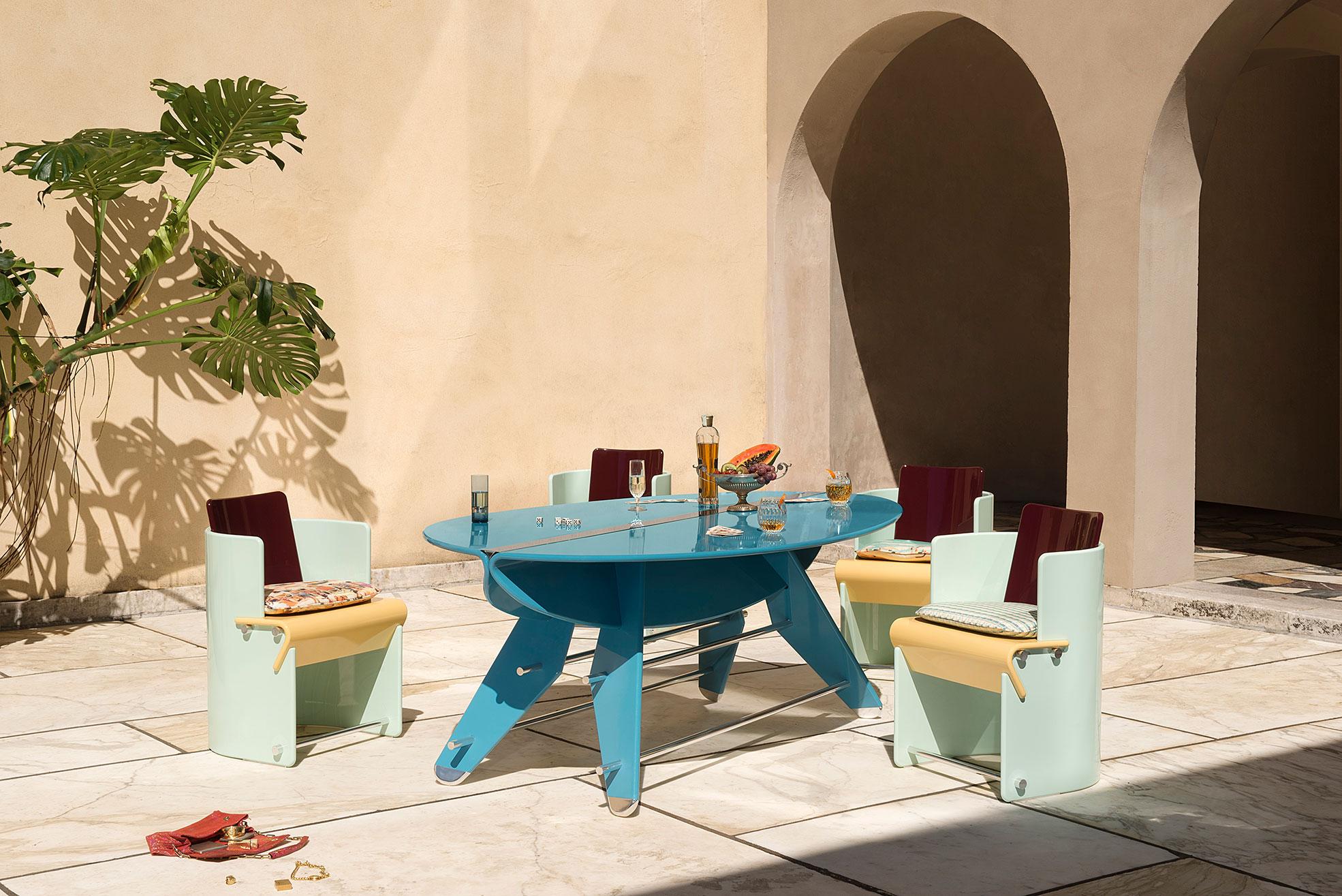 Table and Chairs Supernova Collection of Derek Castiglioni Photographer Maria Teresa Furnari