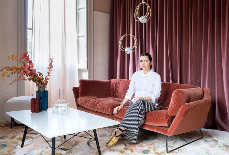 Portrait of the designer Cristina Celestino at Brera Design Apartment Photography of Maria Teresa Furnari