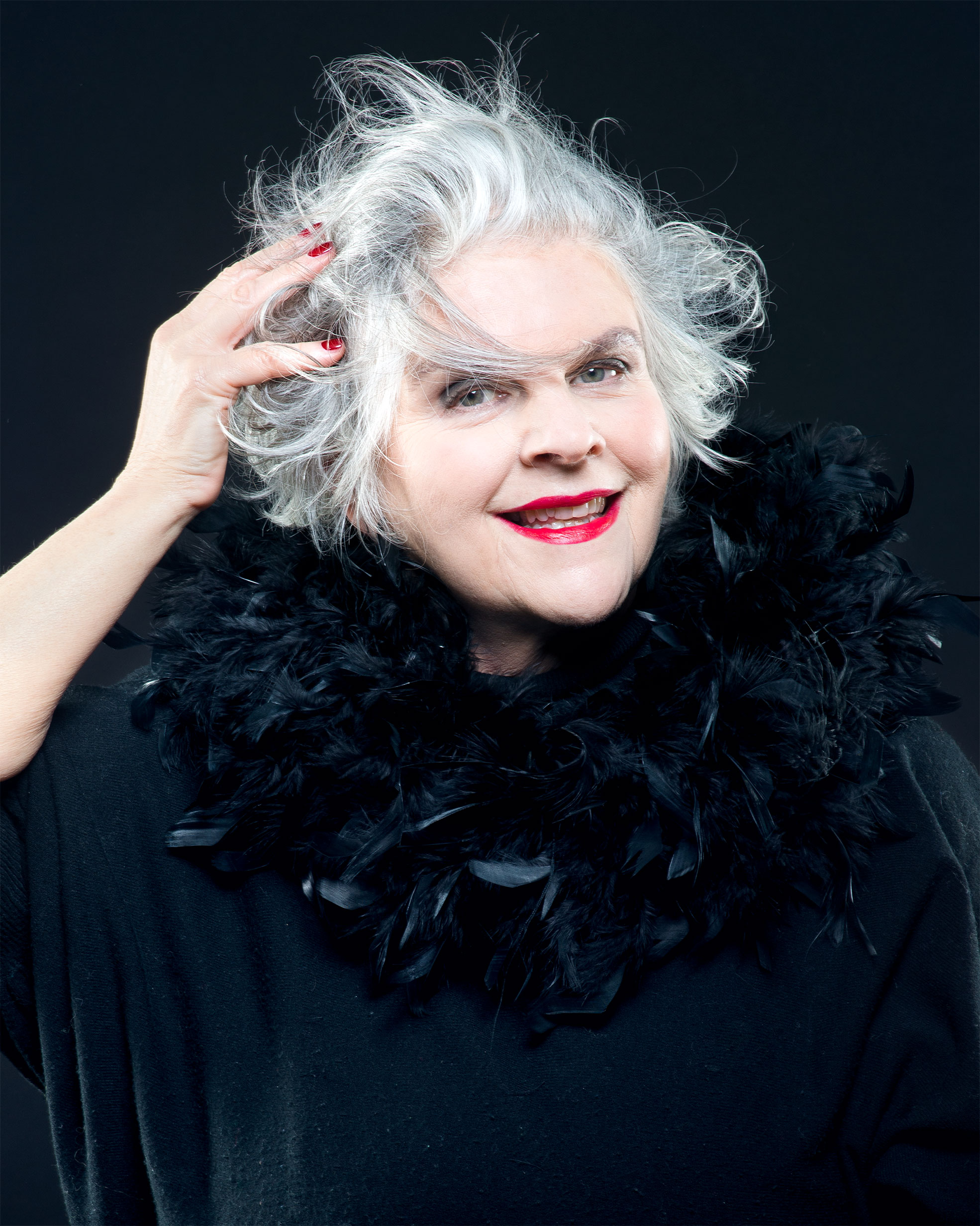 Portrait of an elderly woman with mussed white hair Make Up By Daniele Francolino Photographer Maria Teresa Furnari