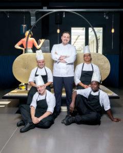 Portrait of Chef Luca La Peccerella and his brigata, at Il Memorabilia Restaurant