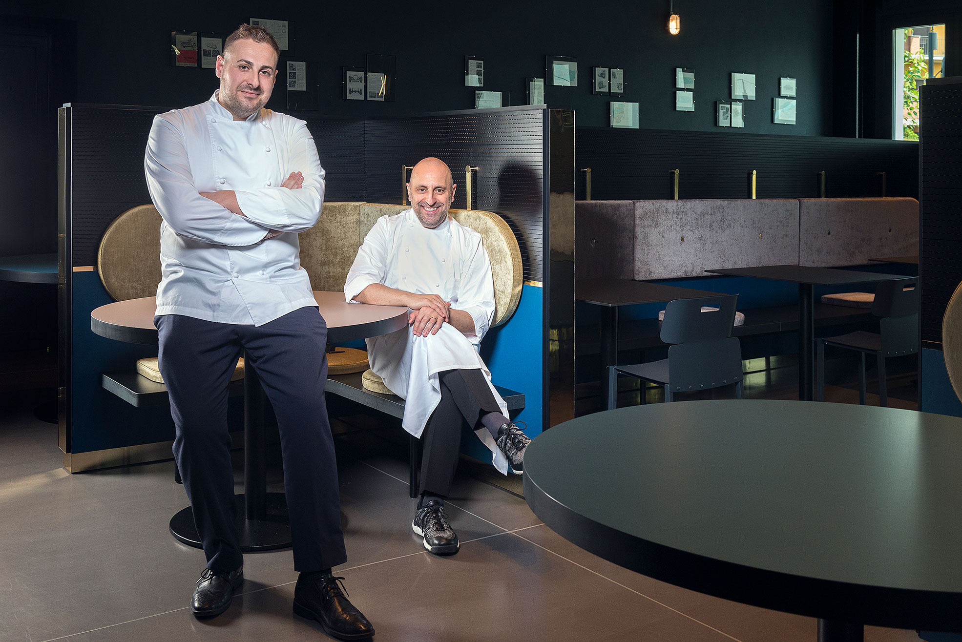 Portrait of chef Filippo Gozzoli and Chef Luca La Peccerella, at Il Memorabilia Restaurant