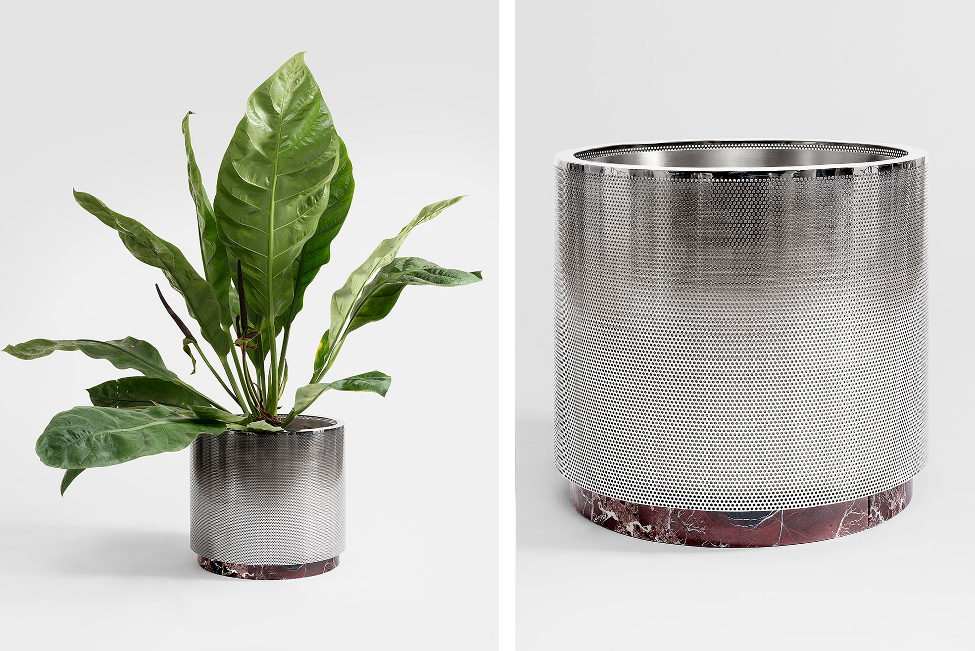 Metal Vase small size with red marble design by Derek Castiglioni Photographer Maria Teresa Furnari