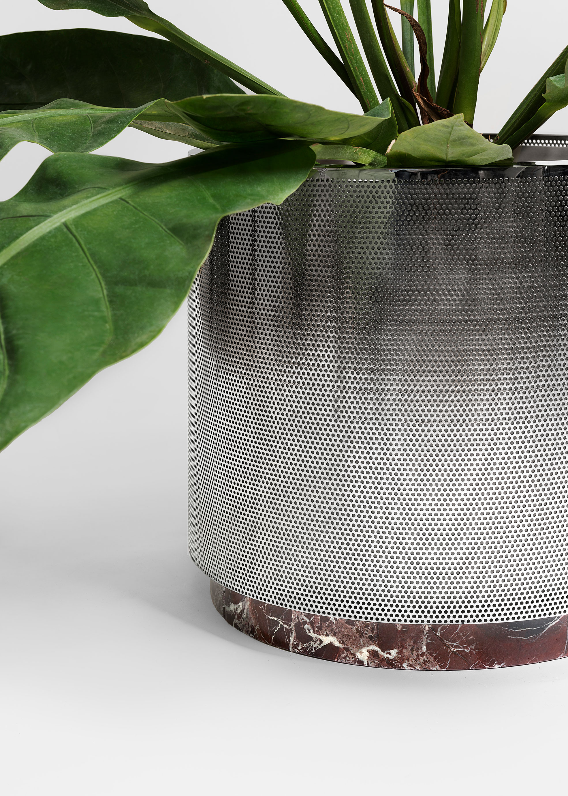 Close Up of Metal Vase small size with red marble design by Derek Castiglioni Photographer Maria Teresa Furnari