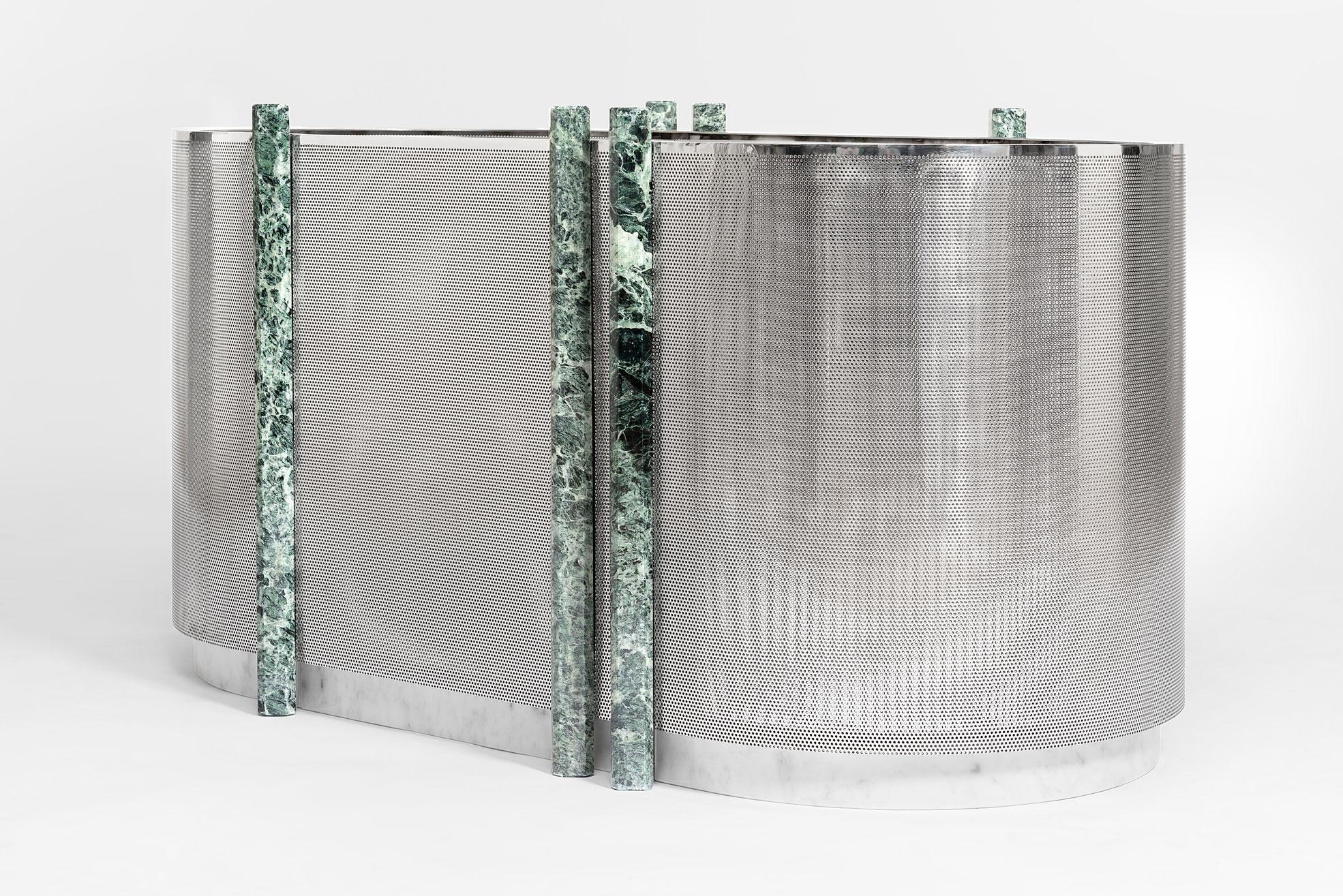 Metal Vase large size with green marble design by Derek Castiglioni Photographer Maria Teresa Furnari