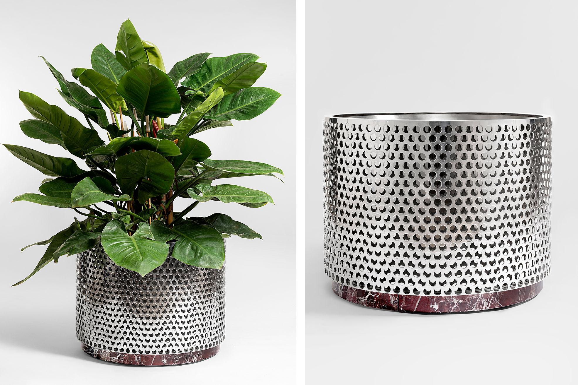 Metal Vase medium size with red marble design by Derek Castiglioni Photographer Maria Teresa Furnari