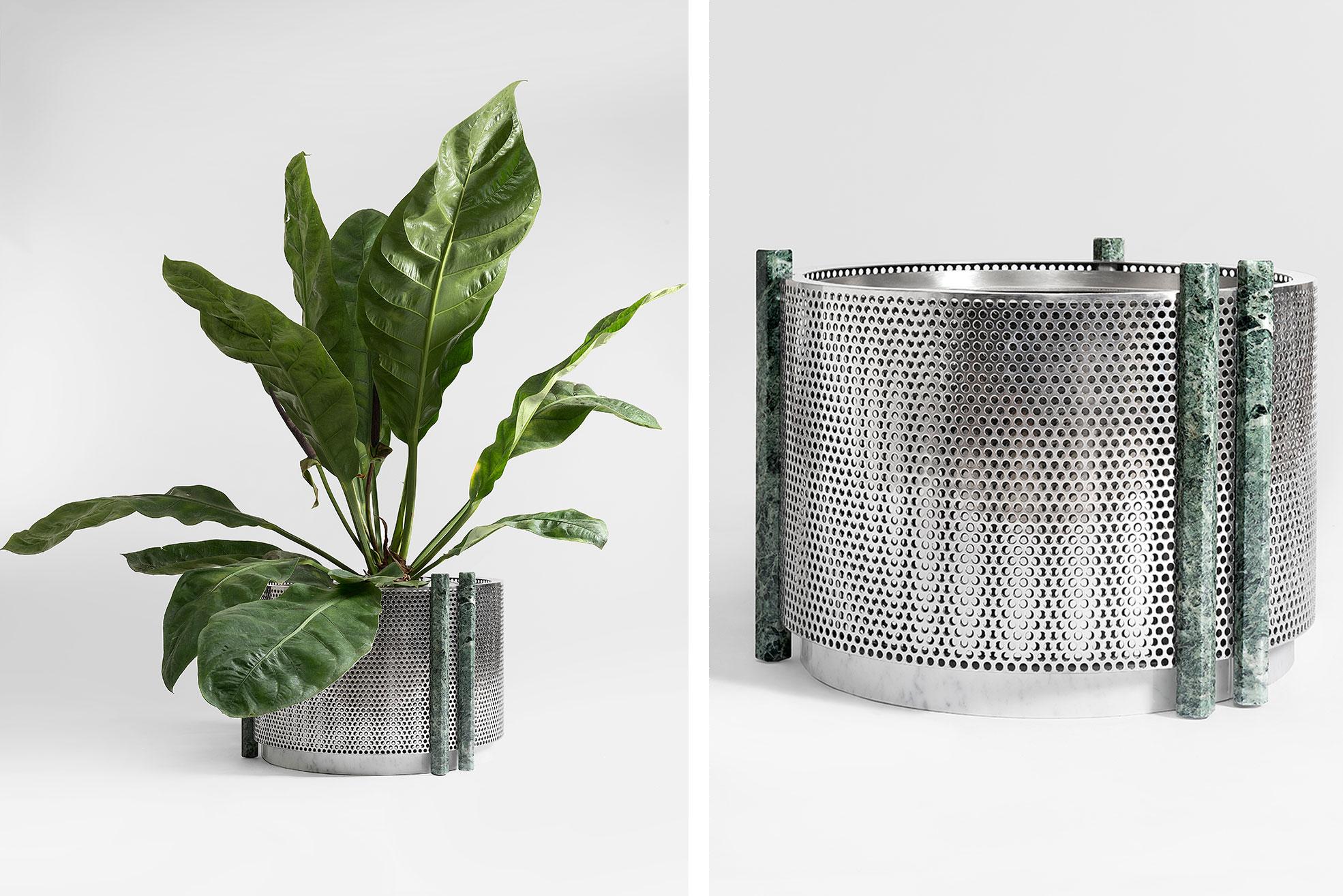 Metal Vase medium size with green marble design by Derek Castiglioni Photographer Maria Teresa Furnari