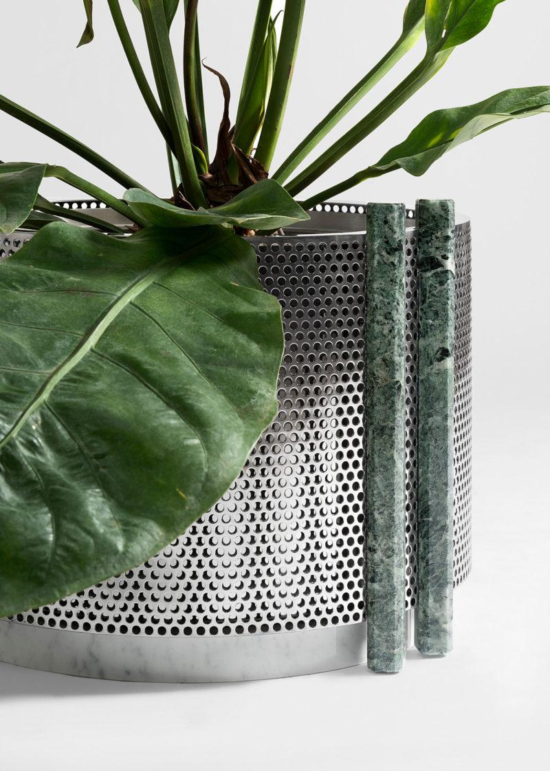 Close up of Metal Vase medium size with green marble design by Derek Castiglioni Photographer Maria Teresa Furnari